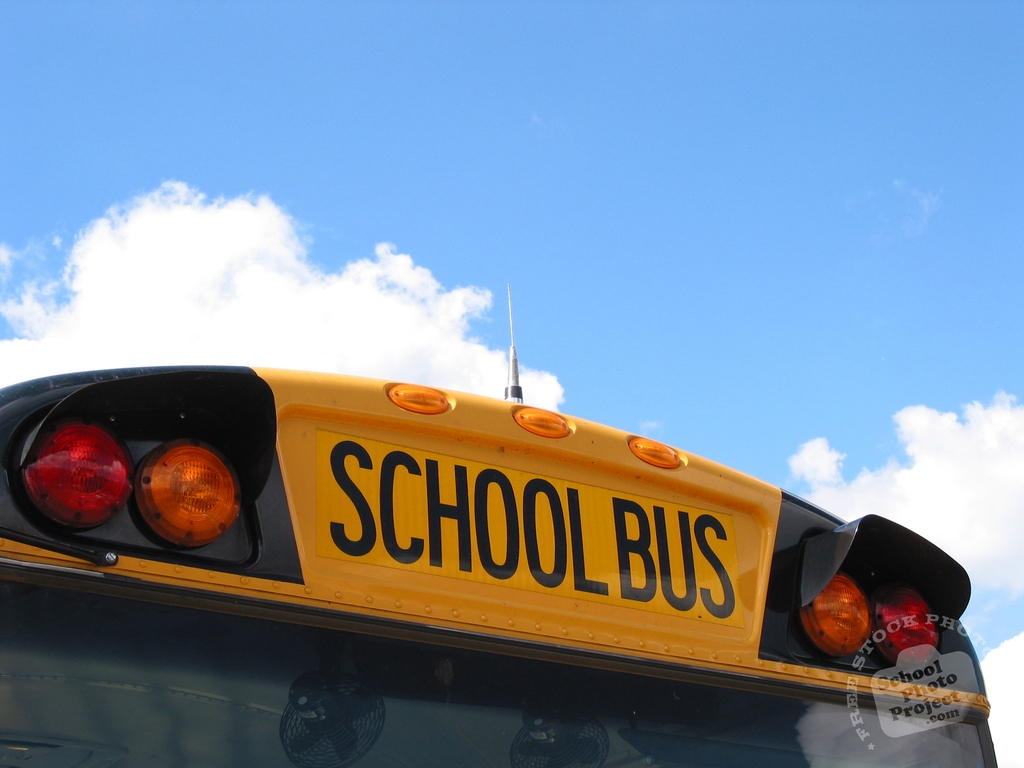 A close-up photo of the top of a school bus.
